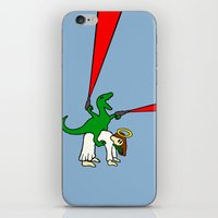 atheist iPhone & iPod Skins featuring Dinosaur Riding Jesus by Jez Kemp