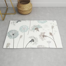 Hand drawn vector dandelions in rustic style Rug