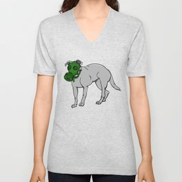 Dog Wearing A Gas Mask Unisex V-Neck
