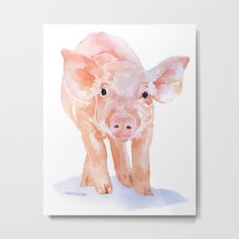 Pig Watercolor Painting Metal Print