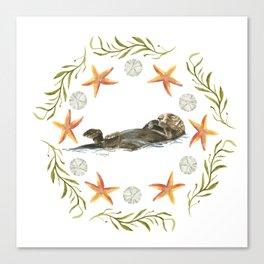 Sea Otter Mandala 1 - Watercolor Canvas Print