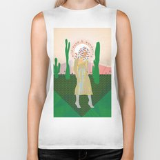 Wild-Eyed & Wandering, Woman and Cactus Contemporary Illustration Biker Tank