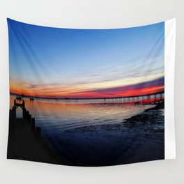 Sunset on the Shore of Southend Wall Tapestry