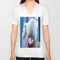 rat V-neck T-shirts featuring White Rat  by Four Hands Art