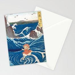 Ponyo and vintage japanese woodblock mashup Stationery Cards