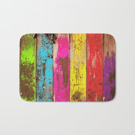 Vintage Colored Wood Bath Mat