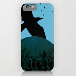 Sacred Gothic Text Gravestone With Crows and Ravens iPhone Case