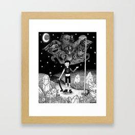 Witchy Skateboarder Framed Art Print