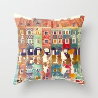 takmaj Throw Pillows featuring Evening in Poznań by takmaj