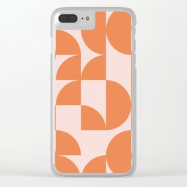 Mid Century Design in Burnt Orange and Blush Clear iPhone Case