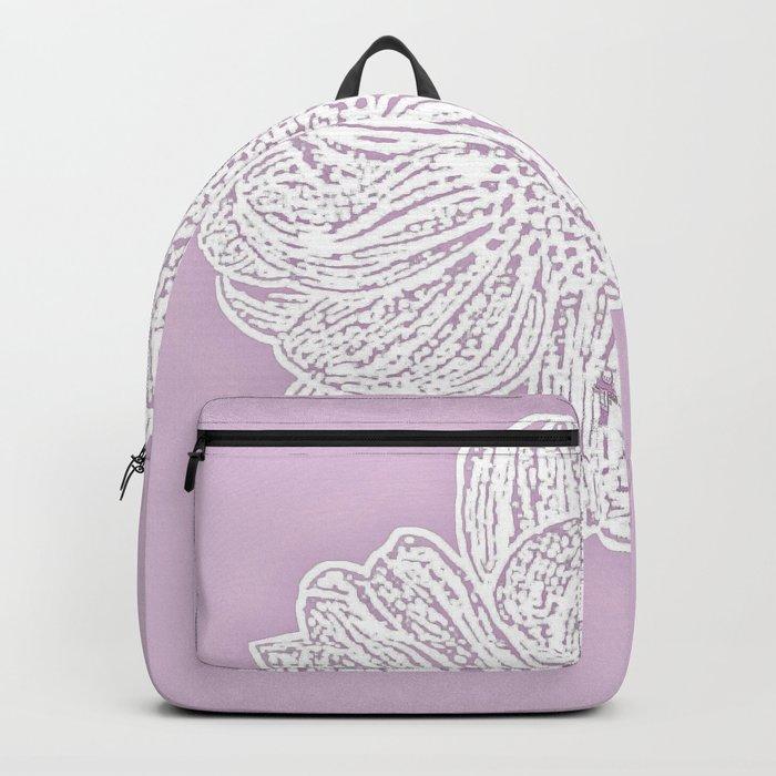 Single White Dahlia Lino Cut, Primrose Pink Backpack