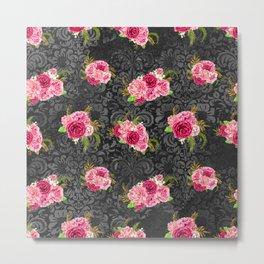 Pink Roses Pattern 09 Metal Print
