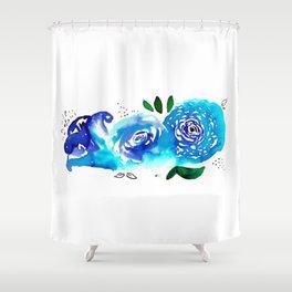Three Blue Christchurch Roses Shower Curtain