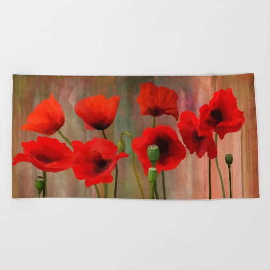 Watercolor Poppies Beach Towel