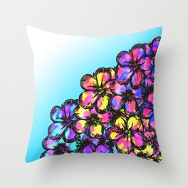 Beautiful Bright Neon Tie Dye Painted Flowers Throw Pillow