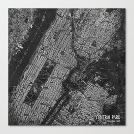 Central Park New York 1947 vintage old map for office decoration Canvas Print