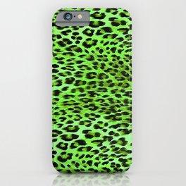 Green Tones Leopard Skin Camouflage Pattern iPhone Case
