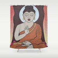 buddha Shower Curtains featuring Buddha     by Marjolein