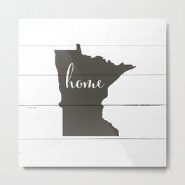 Minnesota is Home - Charcoal on White Wood Metal Print