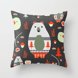 Christmas bears and birds Throw Pillow