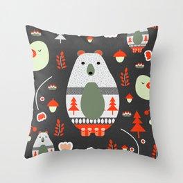 Christmas bears and birds Throw Pillow