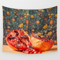 pomegranate Wall Tapestries featuring Pomegranate by Marie Carr