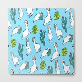 Cute Llamas Pattern Alpaca Metal Print