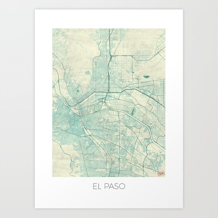 El Paso Map Blue Vintage Art Print
