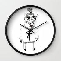 pig Wall Clocks featuring Pig by KRADA ZHAN ART