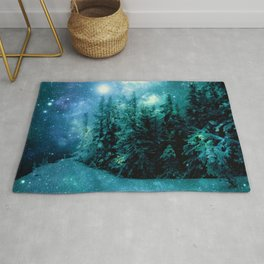 Galaxy Winter Forest Blue Teal Rug