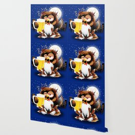 Drunk Owl with Beer Funny Character Wallpaper