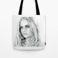 cara delevingne Tote Bags featuring Cara Delevingne by sesven