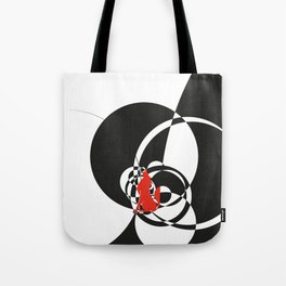 red wolf by black circles overlap Tote Bag