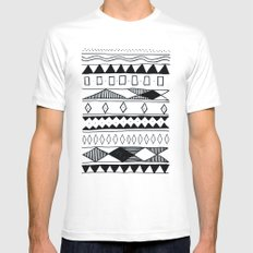 Rivers & Robots Pattern White MEDIUM Mens Fitted Tee