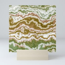 Green and toasted sienna marbling texture Mini Art Print
