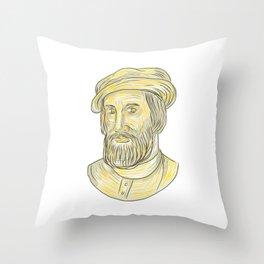 Hernan Cortes de Monroy Drawing Throw Pillow