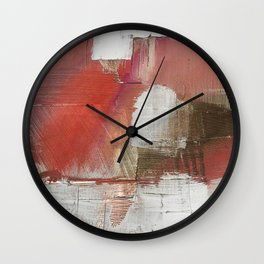 The Little Things: a minimal, abstract piece in reds and gold by Alyssa Hamilton Art Wall Clock