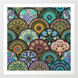 Colorful floral seamless pattern from circles with mandala in patchwork boho chic style Art Print