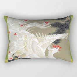 Jakuchu Phoenix with Paulownia Background Rectangular Pillow