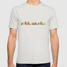 Mountain range Mens Fitted Tee LARGE Silver