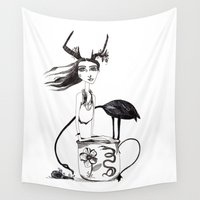 alice in wonderland Wall Tapestries featuring Wonderland by lesinfin