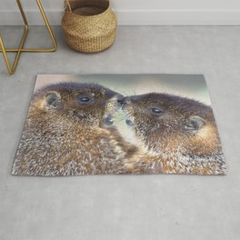 Watercolor Marmot 14, Forest Canyon Tundra, RMNP, Colorado, Kissin' Cousins Rug