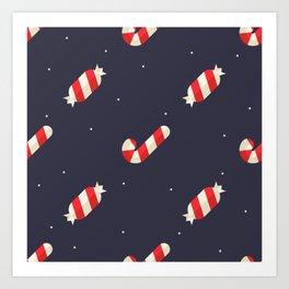 Red Christmas Peppermint Pattern Art Print