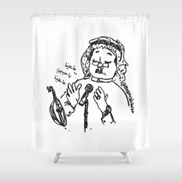 Abu Baker Salim Fan Art sketch black and white lines Oud أبوبكر سالم ما علينا Shower Curtain