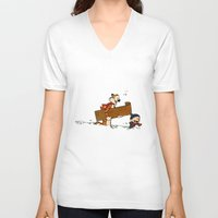 calvin hobbes V-neck T-shirts featuring Calvin & Hobbes Winter by rarcomeus