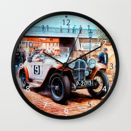 Jalopy racing car painting Wall Clock