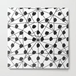 Geometrical black white watercolor polka dots Metal Print