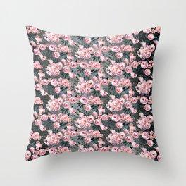 Night Rose Garden Pattern Throw Pillow
