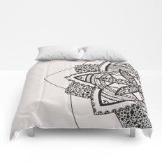 Almost black on white mandala Comforters