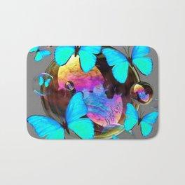 SURREAL NEON BLUE BUTTERFLIES  & SOAP BUBBLES GREY Bath Mat